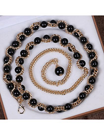 Fashion Black Beads Decorated Chains Weave Design Alloy Thin belts