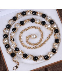 Fashion Black+beige Beads Decorated Chains Weave Design Alloy Thin belts