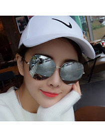 Trend Silver Color Semicircular Frame Simple Design Alloy Women Sunglasses