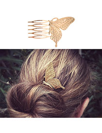 Fashion Gold Color Butterfly Shape Decorated Simple Design