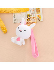 Sweet White Cartoon Rabbit Decorated Dots Descendants Of The Sun Resin Fashion Keychain