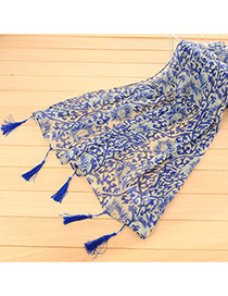 Personality Sapphire Blue Flower Pattern Decorated Tassel Design Cotton Thin Scaves
