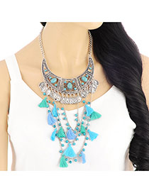 Fashion Silver Color Multilayer Pendant Decorated Collar Design