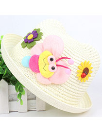 Lovely White Bee&flower Decorated Crimping Design Straw Children's Hats