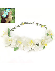 Sweet White Flower Decorated Simple Design Fabric Hair band hair hoop