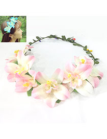 Sweet Pink Flower Decorated Simple Design Fabric Hair band hair hoop