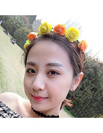 Sweet Yellow+orange Flower Decorated Simple Design Fabric Hair band hair hoop