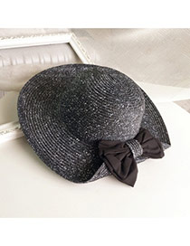 Lovely Black Bowknot Decorated One Side Fold Design Straw Sun Hats