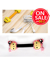 Lovely Pink Cartoon Rabbit Decorated Bend Design Silicon Cord Fixer