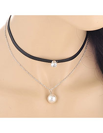 Fashion White Pearl Pendant Decorated Double Layer Design Alloy Chokers