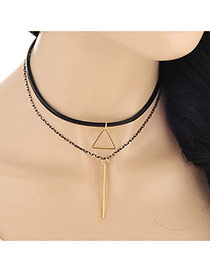 Fashion Gold Color Triangle&strip Shape Decorated Double Layer Design