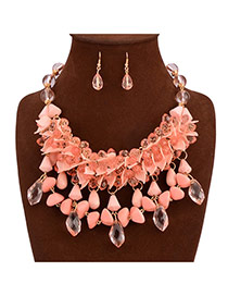 Exaggerate Red Leaf Shape & Gem Tassels Decorated Double Design Alloy Jewelry Sets