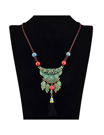 Vintage Green Leaf & Beads Decorated Simple Design Alloy Bib Necklaces