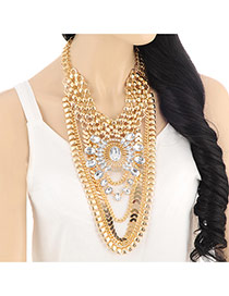 Exaggerate Gold Color Geometry Shape Decorated Multilayers Design