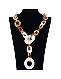 Exaggerate White Circle Decorated Chain Shape Design Acrylic Bib Necklaces