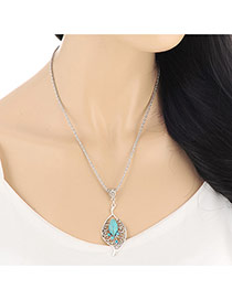 Fashion Blue Diamond Decorated Leaf Shape Pendant Design  Alloy Bib Necklaces