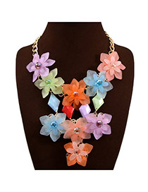Exaggerate Multi-color Flower Tassel Pendant Decorated Collar Design Acrylic Bib Necklaces