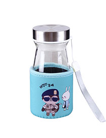Trendy Green Wolf&rabbit Pattern Decorated Mini Design Dots Descendants Of The Sun(350ml) Glass Household goods