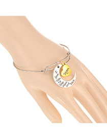 Fashion Gold Color Crescent & Heart Shape Decorated Simple Design Alloy Fashion Bangles