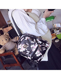Sweet Black Butterfly&flower Pattern Decorated Simple Design Pu Backpack