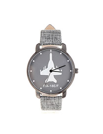 Fashion Gray Plane Pattern Decorated Round Case Design Fabric%2belectron Ladies Watches