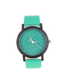 Fashion Green Candy Color Decorated Round Case Design  Pu Ladies Watches