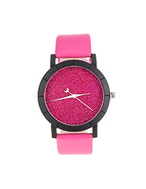 Fashion Pink Candy Color Decorated Round Case Design  Pu Ladies Watches