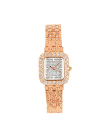Fashion Champagne+silver Color Diamond Decorated Square Case Design  Alloy Ladies Watches