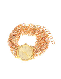 Exaggerate Gold Color Multilayers Chain Decorated Round Case Design Alloy Ladies Watches