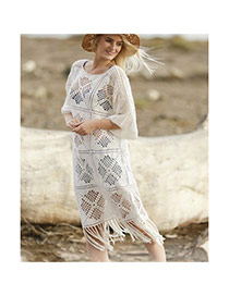 Sexy White Tassels Decorated Hollow Out Design Bikini Cover Up Smock Dacron Beach Dresses