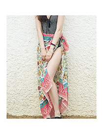 Vintage Multicolor Flower Pattern Decorated Simpple Design Bikini Cover Up Skirt Dacron Beach Dresses