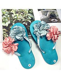 Elegant Blue Flower&pearl Decorated Weave Design Beach Shoes Eva Slippers