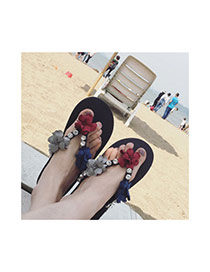 Fashion Black Flower&diamond Decorated Weave Design Beach Shoes Eva Slippers