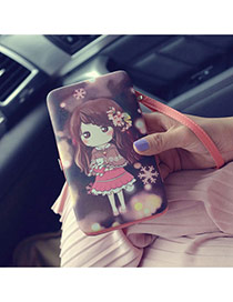 Fashion Black Cartoon Girl Pattern Decorated Square Shape Design Pu Wallet