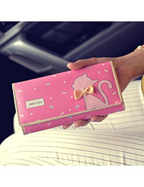 Fashion Pink Cartoon Cat Pattern & Bowknot Decorated Square Shape Design Pu Wallet