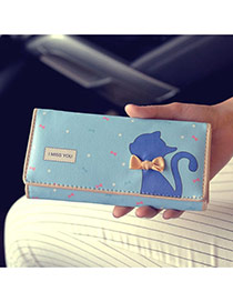 Fashion Blue Cartoon Cat Pattern & Bowknot Decorated Square Shape Design Pu Wallet