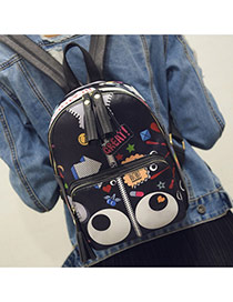 Fashion Black Cartoon Eyes Pattern Decorated Tassels Design Pu Backpack