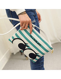 Personality Blue Strip & Eye Pattern Decprated Square Shape Design Pu Shoulder bags