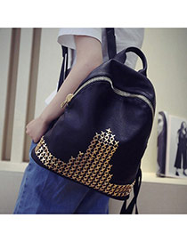 Fashion Gold Color Rivet Decorated Pure Color Design Pu Backpack