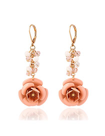 Fashion Pink Flower Shape Pendant Decorated Simple Design Alloy Korean Earrings