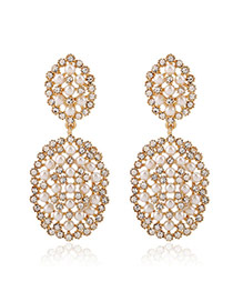 Exaggerate White Diamond Decorated Oval Shape Hollow Out Design Alloy Stud Earrings