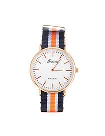 Elegant Orange Color Matching Decorated Round Case Design Fabric Ladies Watches
