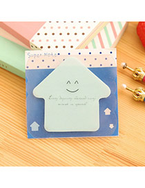 Lovely Blue Smile Pattern Hpuse Shape Design Paper Stickers Tape