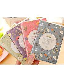 Lovely Random Color Flower &bird Pattern Simple Design Paper Sticker Notebook Paper Notebook Agenda