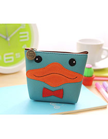 Lovely Multi-color Duck Pattern Decorated Simple Design Leather Wallet