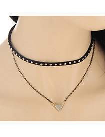 Trendy Gold Color Triangle Pendant Decorated Double Layer Design