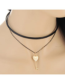 Trendy Black Heart Key Pendant Decorated Double Layer Design