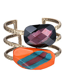 Fashion Multi-color Geometric Gemstone Decorated Hollow Out Design Alloy Fashion Bangles