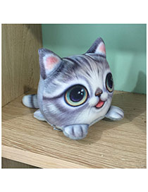 Lovely Gray Big Eyes Cat Pattern Decorated Simple activated carbon doll