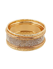 Exaggerate Gold Color Full Diamond Decorated Multilayer Design Alloy Fashion Bangles